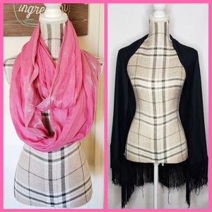 Accessories - 🚨SALE 3/$10 - Bundle of 2 Pink Scarf Black Shawl